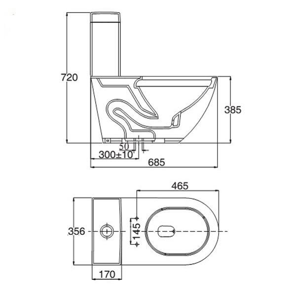 Bản vẽ kỹ thuật mẫu bồn cầu Viglacera V199