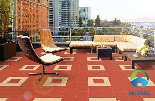 Gạch đỏ cotto lát sân thượng nổi bật