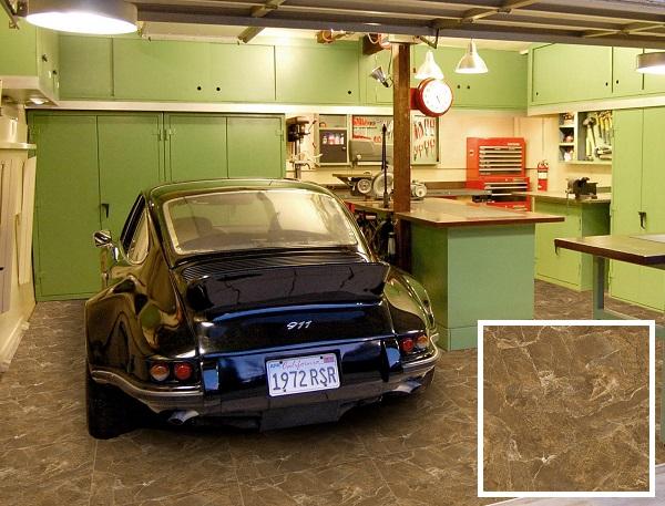 Mẫu gạch lát nền gara ô tô Viglacera UH B603 màu nâu vân đá