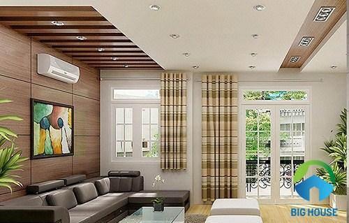gạch ốp tường phòng khách giả gỗ 1