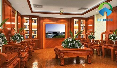 gạch giả gỗ ốp tường phòng khách 1