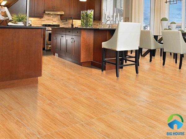 Mẫu gạch lát nền nhà bếp Prime H15607 họa tiết vân gỗ sọc dọc
