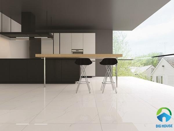 Mẫu gạch Viglacera ECO S801 họa tiết vân đá màu trắng tạo cảm giác thoáng mát, thanh lịch và tinh tế cho không gian phòng bếp