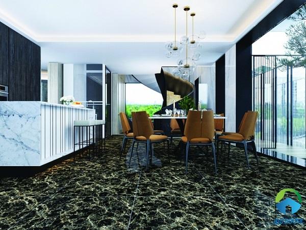 Gạch lát nền nhà bếp Viglacera ECO D626 với gam màu đen sang trọng, vân đá sắc nét