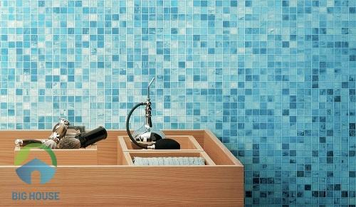 gạch ốp tường màu xanh 1