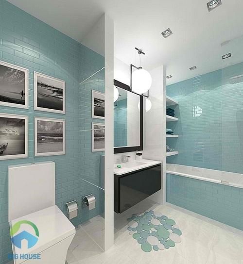 gạch ốp tường màu xanh 2