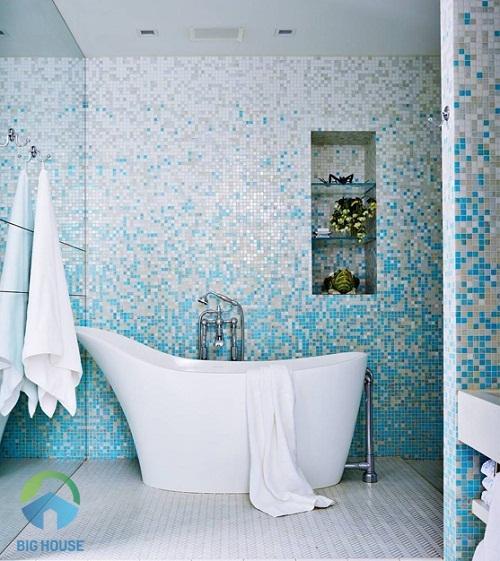 gạch ốp tường màu xanh 3
