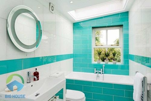 gạch ốp tường màu xanh 4