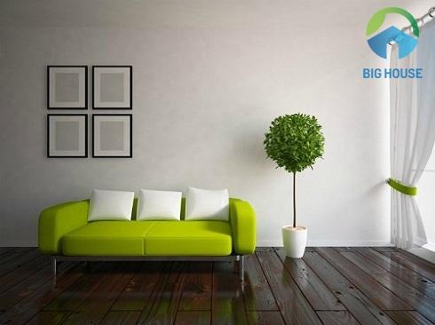 Sự đối nghịch màu sắc giữa tường và nền mang đến nét phá cách cho không gian sống