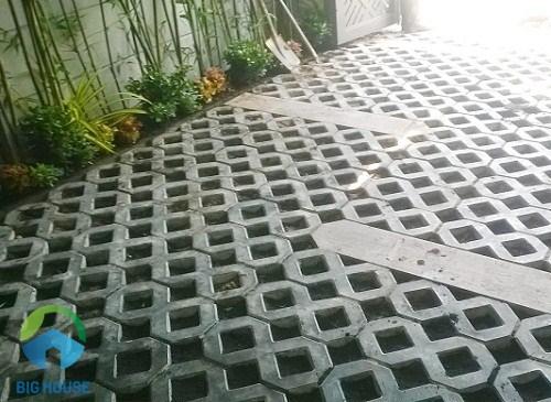 mẫu gạch lát sân vườn trồng cỏ