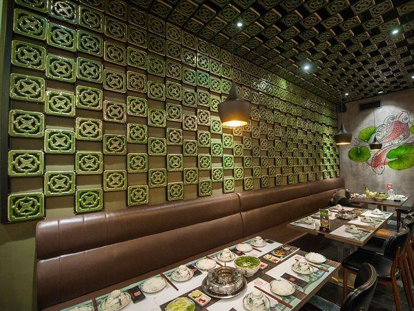Gạch hoa gió trang trí cho quán ăn, nhà hàng theo phong cách cổ điển