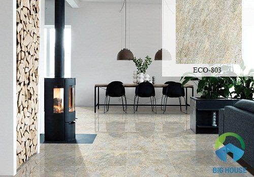 Gạch lát nền phòng khách vân đá 80x80 Viglacera ECO803