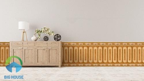 Gạch ốp chân tường phòng ngủ giả gỗ