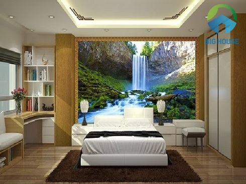 Gạch ốp tường phòng ngủ 3D họa tiết thác nước