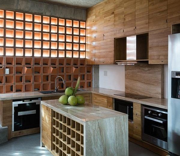 Gạch bánh ú ốp tường phòng bếp