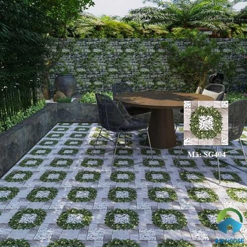 Mẫu gạch giả cỏ kết hợp giả đá lát sân vườn SG404