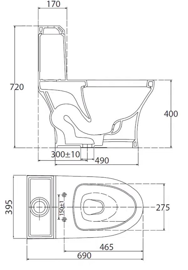 bản vẽ kỹ thuật bồn cầu 1 khối viglacera v45