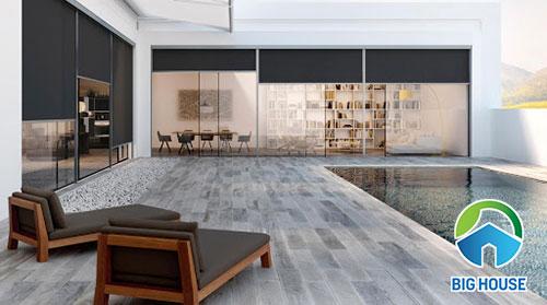 Gạch vân gỗ lát sân bể bơi giúp tăng tính thẩm mỹ cho không gian