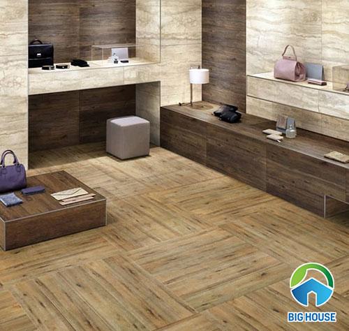 Mẫu gạch vân gỗ hình vuông lát nhà tắm