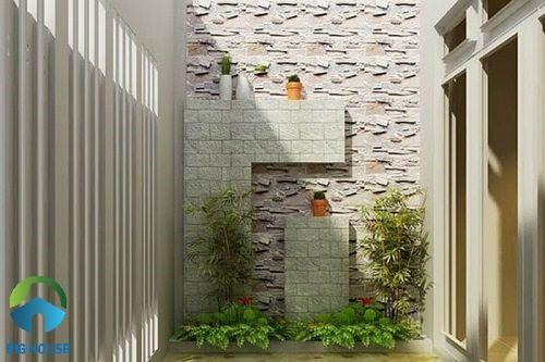 Mẫu gạch giả đá bề mặt định hình ốp tường giếng trời