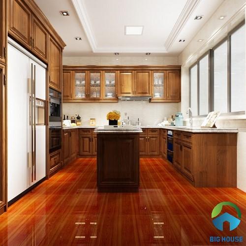 Mẫu gạch lát nền giả gỗ 50x50 GM505 màu đỏ nâu kết hợp bề mặt bóng kính
