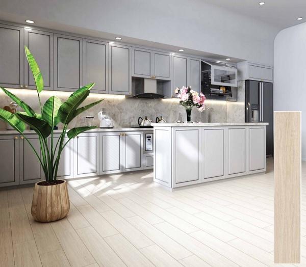 Gạch giả gỗ màu sáng Viglacera T15904 cho căn phòng bếp chung cư