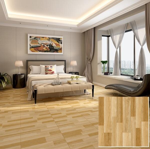 Mẫu gạch giả gỗ màu vàng nhạt Vitto 0983 sắp xếp họa tiết sole ấn tượng