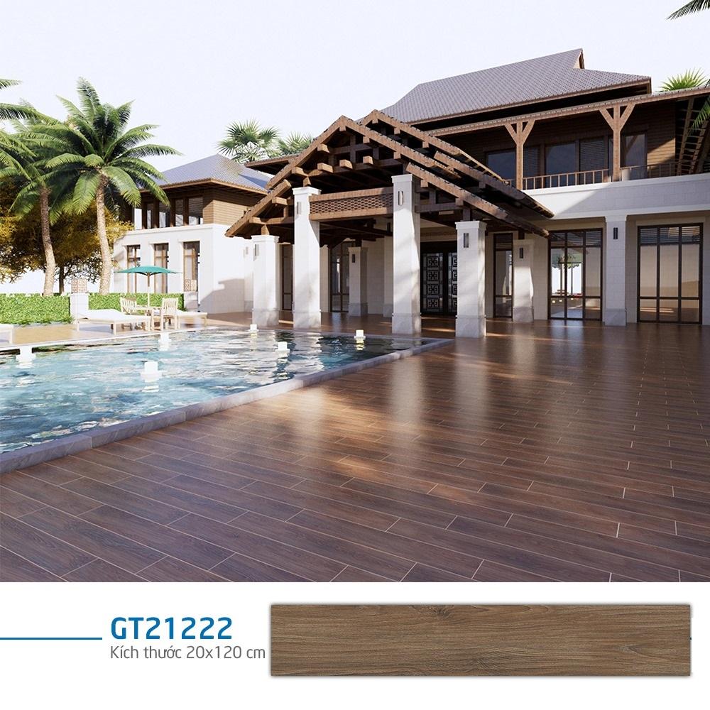 Mẫu gạch giả gỗ Viglacera GT21222 lát khu vực hồ bơi ngoài trời
