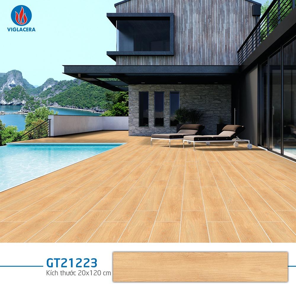Mẫ gạch giả gỗ Viglacera GT21223 với gam màu vàng nhẹ nhàng, ấm áp