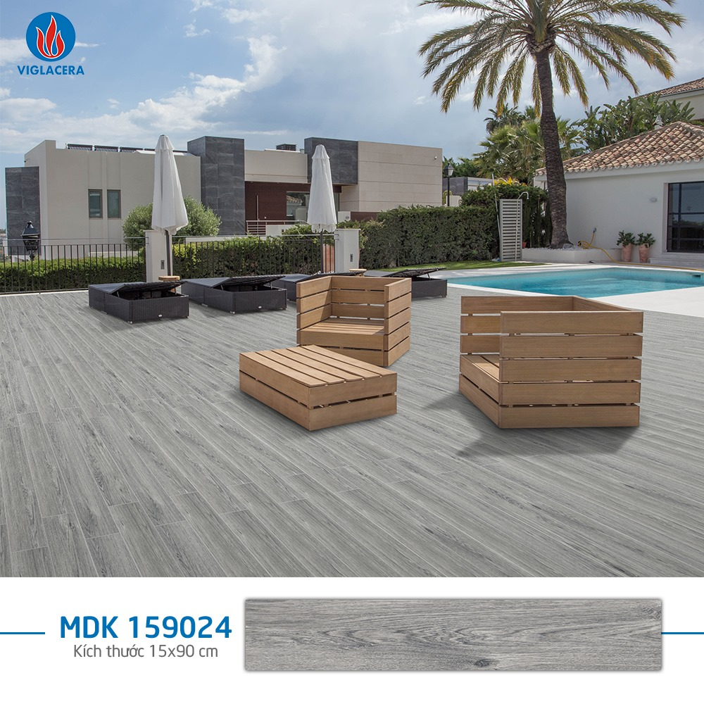 Gạch vân gỗ màu xám Viglacera MDK 159024 bề mặt nhám chống trơn hiệu quả