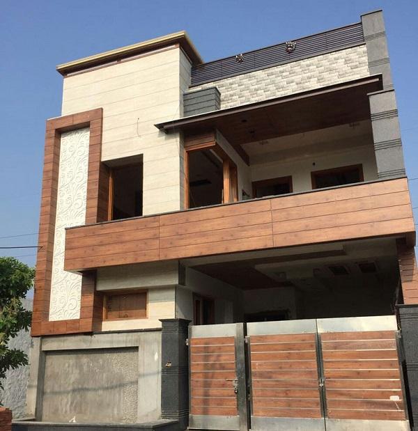 gạch giả gỗ ốp mặt tiền nhà gam màu nâu đỏ ấn tượng cho không gian mặt tiền