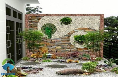 Mẫu tiểu cảnh sân vườn ứng dụng gạch giả cổ