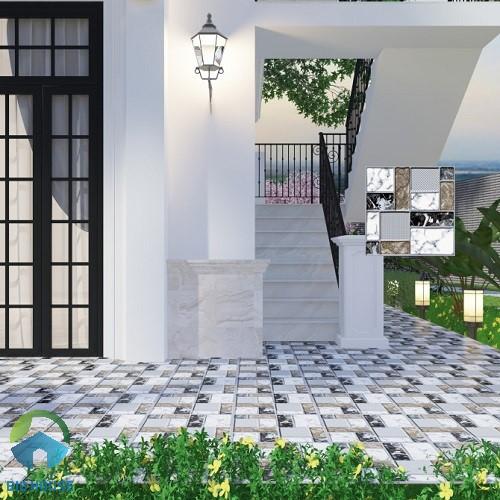 Mẫu gạch lát sân vườn SV5513 họa tiết vân đá, bề mặt định hình
