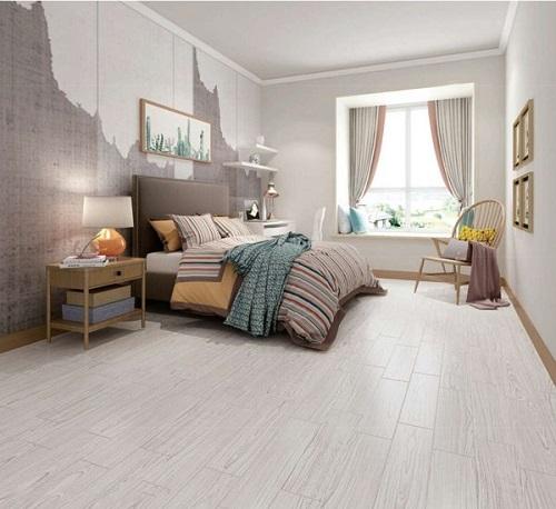 mẫu gạch giả gỗ màu sáng đẹp cho phòng ngủ