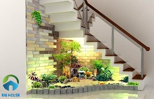 Mẫu tiểu cảnh cầu thang sử dụng gạch thẻ ốp tường
