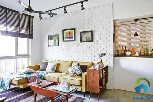 Mẫu gạch thẻ màu trắng cho không gian phòng khách