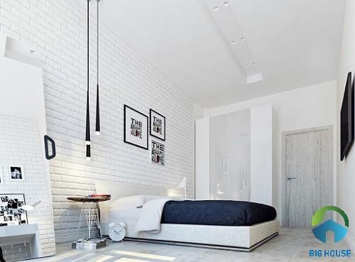 Gạch thẻ màu trắng cho không gian phòng ngủ