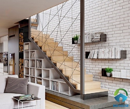 Gạch thẻ trang trí tường cầu thang