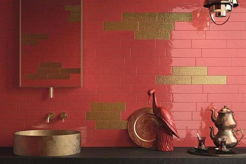 gạch thẻ ốp tường màu đỏ