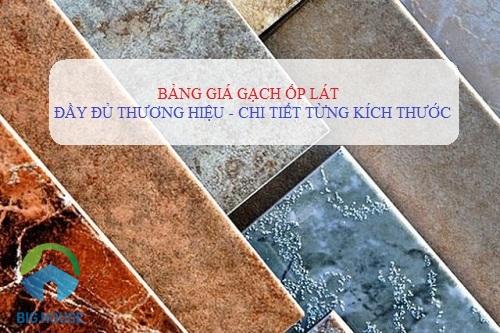 Bảng báo giá gạch ốp lát Prime, Bạch Mã, Đồng Tâm, Catalan…