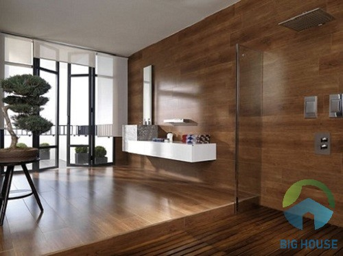 gạch giả gỗ ốp tường phòng khách