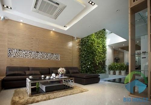 gạch ốp tường giả gỗ phòng khách