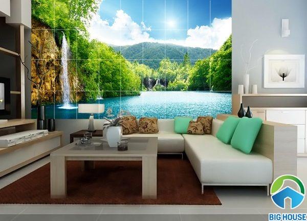 Mẫu gạch 3d ốp phòng khách đẹp