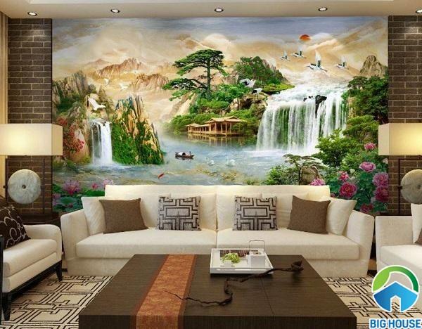Mẫu tranh gạch phong cảnh thác nước