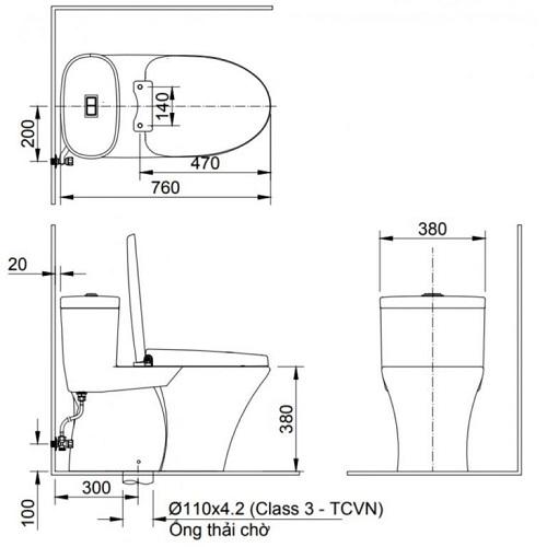 kích thước bồn cầu viglacera 1 khối