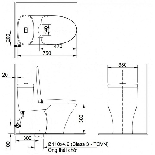 kích thước bồn cầu viglacera 2 khối