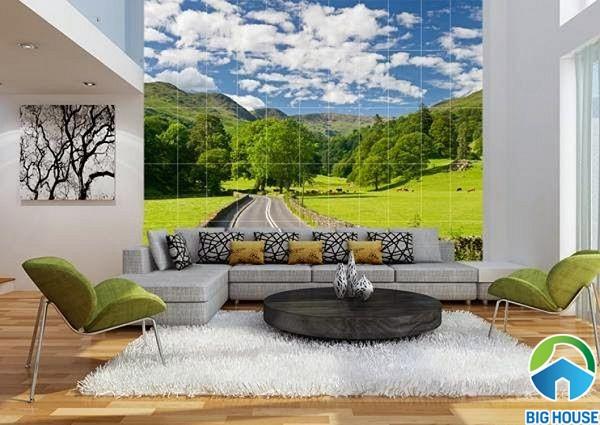 Gạch 3d ốp tường phòng khách đẹp