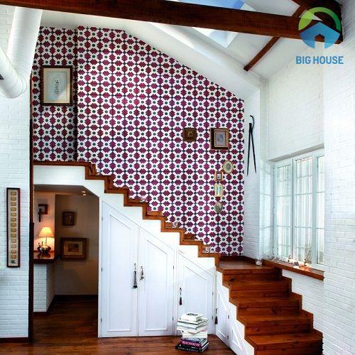 Gạch bông trang trí tường cầu thang