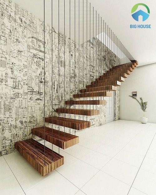 Gạch ốp tường cầu thang đẹp họa tiết tranh cổ xưa