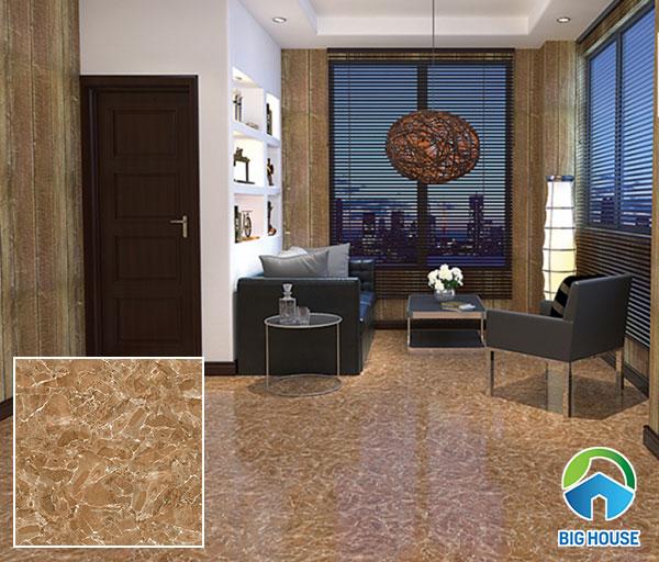 Mẫu gạch lát sàn nhà vân đá màu nâu Prime 09476